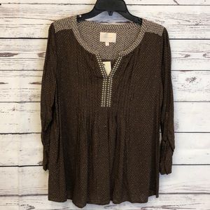 Stitch Fix pleated embroidered boho chic blouse
